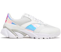 Woman Mesh-paneled Iridescent And Smooth Leather Sneakers White