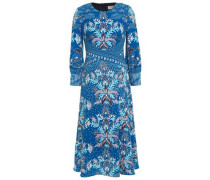 Woman Printed Cloqué Dress Blue