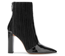 Woman Michella 100 Suede, Patent-leather And Velvet Ankle Boots Black