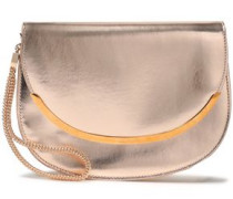 Metallic Faux Leather Clutch Rose Gold Size --