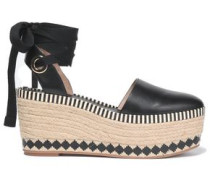 Lace-up leather platform espadrilles