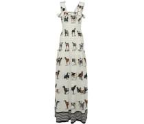 Ruffle-trimmed smocked printed silk maxi dress
