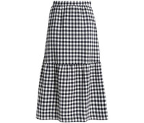Gingham cotton-blend woven midi skirt
