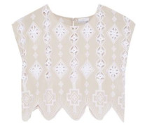 Deva Cropped Broderie Anglaise Cotton-voile Top Beige