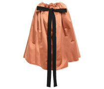 Bow-detailed Satin Cape Pastel Pink