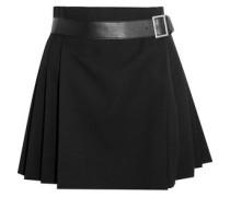 Pleated grain de poudre wool wrap mini skirt