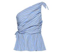 One-shoulder Knotted Striped Poplin Top Light Blue