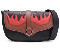 Embroidered leather shoulder bag