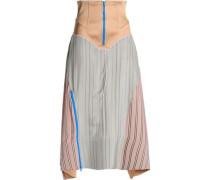 Satin-paneled jacquard midi skirt