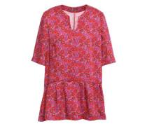 Floral-print Twill Peplum Top Fuchsia Size 12