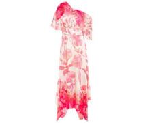 Draped Embellished Floral-print Hammered Stretch-silk Satin Midi Dress Pink