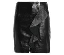 Ruffled leather mini skirt