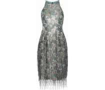 Fringed bead-embellished brocade dress