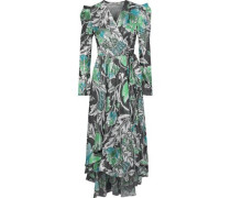 Darcey Printed Metallic Jacquard Wrap Dress Black Size 0