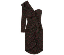 Woman Leona One-shoulder Ruffled Ruched Polka-dot Silk Dress Black