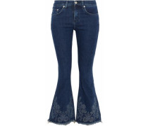 Embroidered mid-rise flared jeans