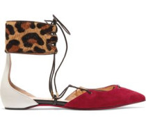 Suede And Leopard-print Calf Hair Point Toe Flats Animal Print