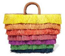 Leather-trimmed fringed straw tote