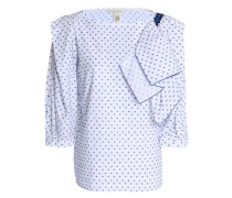 Ruffled fil coupé cotton -poplin blouse