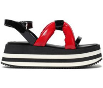 Woman Padded Patent-leather Platform Sandals Red