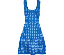 Flared Jacquard-knit Dress Azure