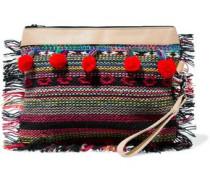 Fringed pompom-embellished leather-trimmed embroidered canvas clutch