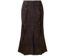 Tassel-trimmed Suede Midi Skirt Dark Brown