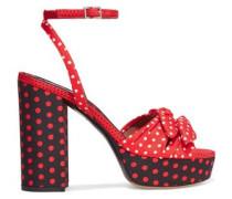 Jodie bow-embellished polka-dot twill platform sandals