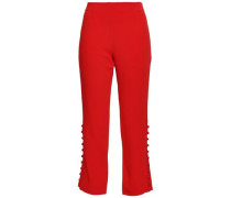 Button-detailed Stretch-crepe Straight-leg Pants Tomato Red