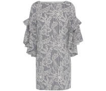 Ruffled striped broderie anglaise cotton mini dress