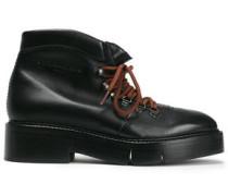 Celina Leather Platform Ankle Boots Black