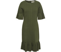 Ruffle-trimmed Stretch Ribbed-knit Dress Army Green