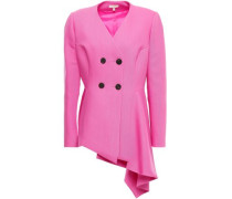 Woman Double-breasted Asymmetric Wool And Silk-blend Peplum Jacket Pink