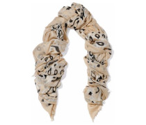 Frayed printed modal, cashmere and silk-blend gauze scarf