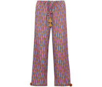 Tasseled printed cotton-blend gauze wide-leg pants