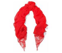 Lace-paneled plissé modal and cashmere-blend scarf