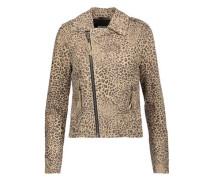 Ailey leopard-print suede biker jacket