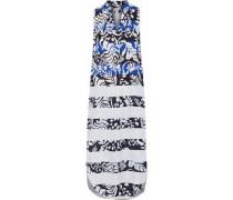 Printed twill midi dress