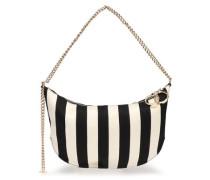 Striped twill shoulder bag