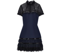 Ruffled Tulle-trimmed Lace And Crepe Mini Dress Navy Size 0