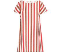 Striped Cotton Mini Dress Red
