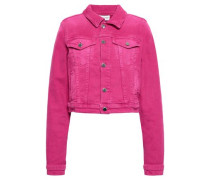 Cropped Denim Jacket Fuchsia
