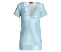 Metallic ribbed-knit T-shirt