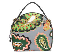 Embellished printed textured-leather shoulder bag