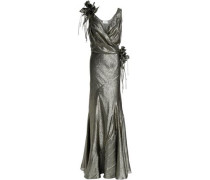 Appliquéd ruched metallic silk-blend gown