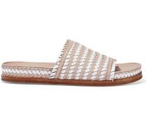 Two-tone Woven Leather Slides Blush