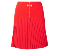 Woman Pleated Chiffon-paneled Wool Mini Dress Red