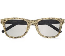 D-frame Glittered Acetate Sunglasses Gold Size --