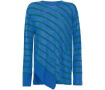 Asymmetric striped intarsia-knit sweater