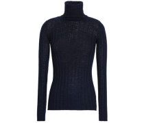 Ribbed Wool And Cashmere-blend Turtleneck Top Navy